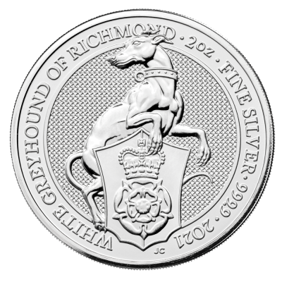 2 oz Queen's Beasts White Greyhound of Richmond Silver Coin (2021)